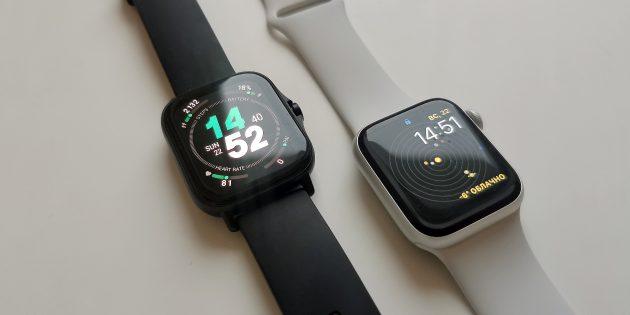 Сравнение Amazfit GTS 2 с Apple Watch 5