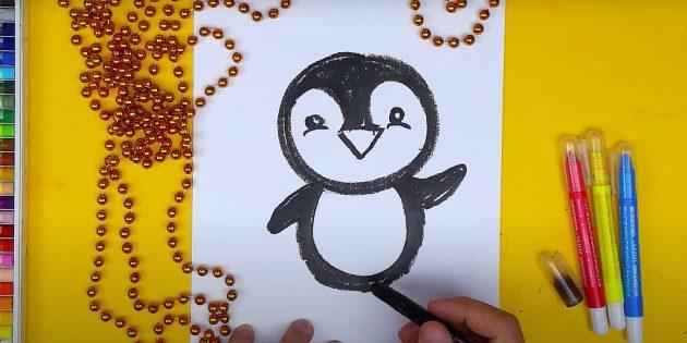 Как нарисовать пингвина: изобразите крылья