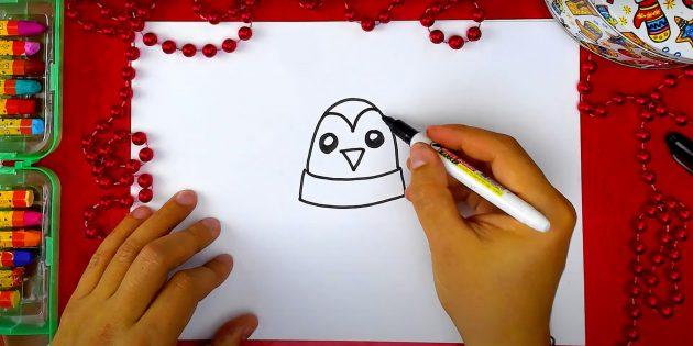 Как нарисовать пингвина: изобразите лоб