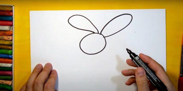Как нарисовать зайца: изобразите уши