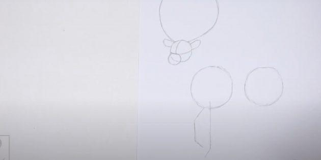 Как нарисовать оленя: наметьте передние ноги