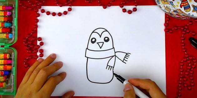 Как нарисовать пингвина: наметьте тело