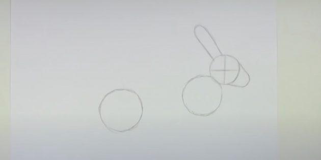 Как рисовать зайца: наметьте ухо