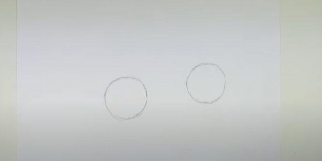 Как нарисовать зайца: нарисуйте два круга