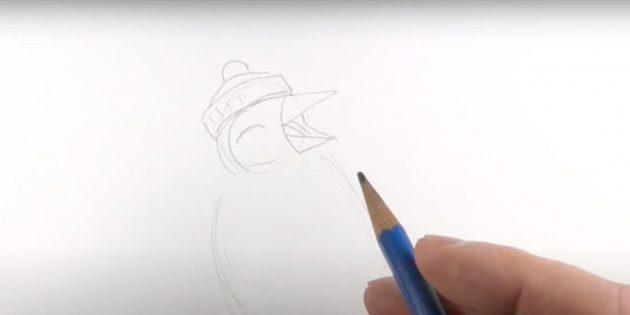 Как нарисовать пингвина: нарисуйте вертикальную дугу и глаз