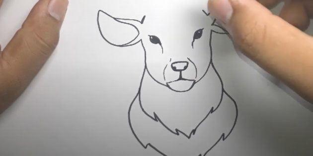 Нарисуйте ещё один «воротник» оленя и проведите чёрточку от носа до рта