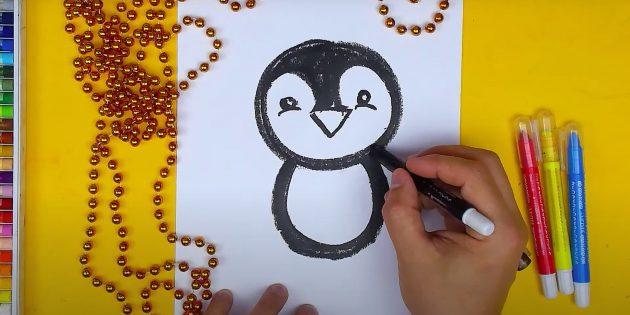 Как нарисовать пингвина: нарисуйте глаза