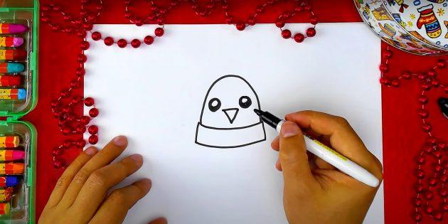 Как нарисовать пингвина: нарисуйте голову, клюв и глаза