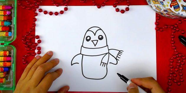 Как нарисовать пингвина: нарисуйте крылья