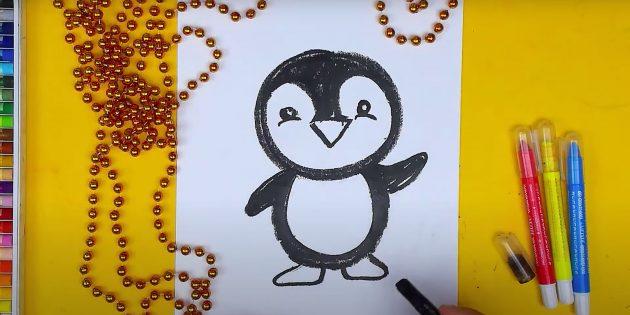 Как нарисовать пингвина: изобразите лапки
