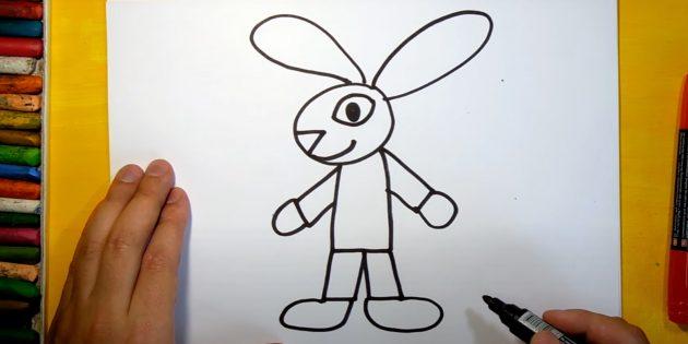 Как нарисовать зайца: нарисуйте ступни