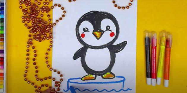Как нарисовать пингвина: нарисуйте льдину