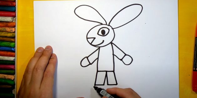 Как нарисовать зайца: нарисуйте ноги