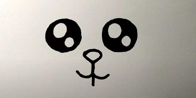 Как нарисовать зайца: нарисуйте нос и рот