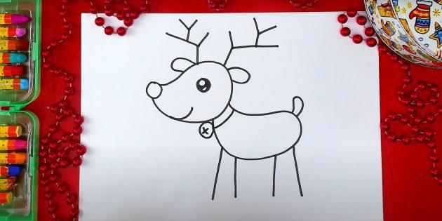 Как нарисовать оленя: нарисуйте ошейник
