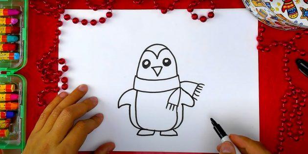 Как нарисовать пингвина: нарисуйте пузико и лапки