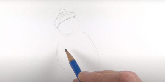 Как нарисовать пингвина: нарисуйте шапку