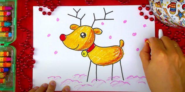 Как нарисовать оленя: нарисуйте сугробы и снежинки