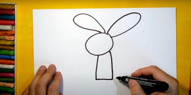 Как нарисовать зайца: нарисуйте тело