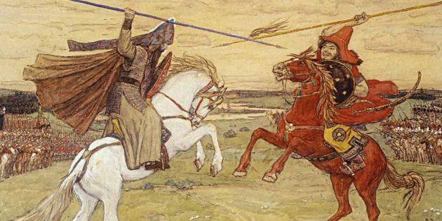 «Поединок Пересвета с Челубеем». Картина Виктора Васнецова