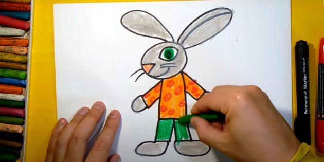 Как нарисовать зайца: раскрасьте ноги