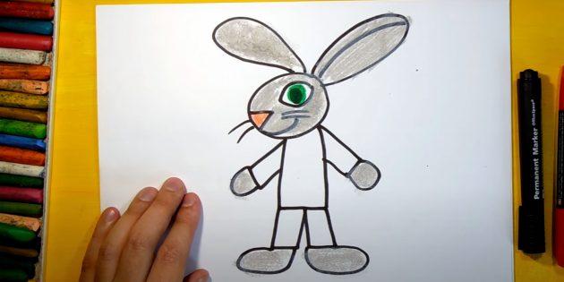 Как нарисовать зайца: раскрасьте нос и глаз