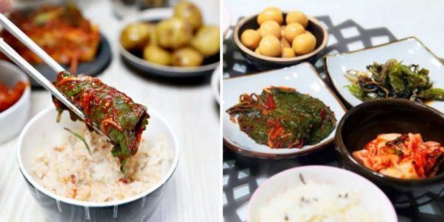 Странные блюда: кунжутные листья
