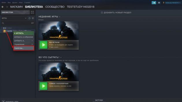 Откройте консоль Steam
