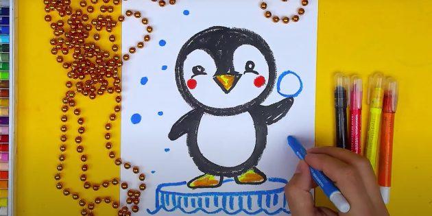 Сделайте штрихи на льдине и нарисуйте снег