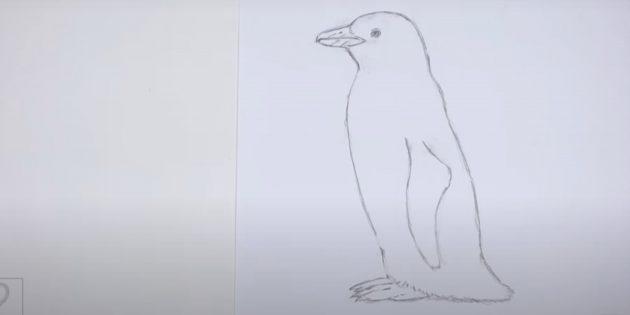 Сотрите вспомогательные линии внутри пингвина