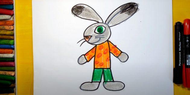 Как нарисовать стоящего мультяшного зайца или кролика
