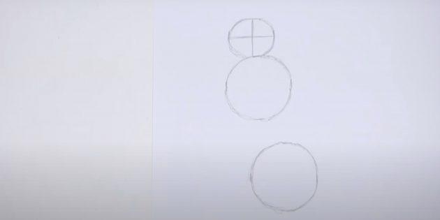 Внутри круга нарисуйте две линии