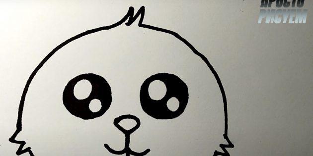 Как нарисовать зайца: нарисуйте хохолок и закончите набросок головы