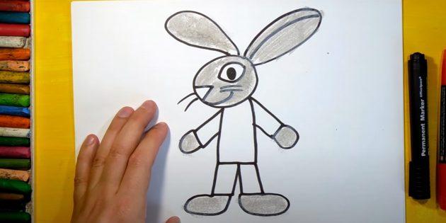 Как нарисовать зайца: закрасьте лапы, голову и уши