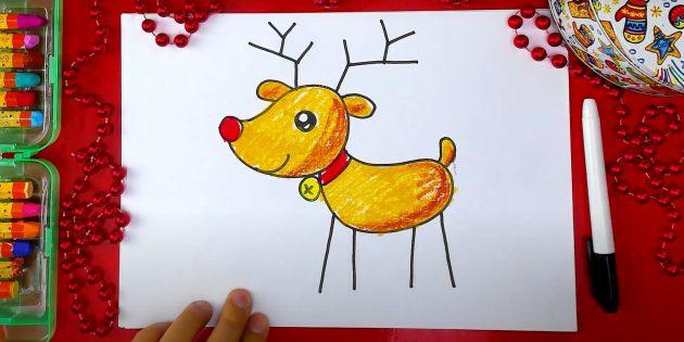 Как нарисовать оленя: закрасьте нос, ошейник и украшение