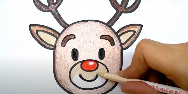 Как нарисовать оленя: закрасьте уши и мордочку