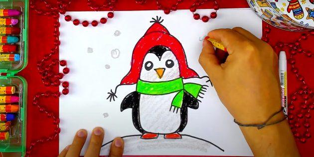 Как нарисовать пингвина: закрасьте живот, горку и нарисуйте снег