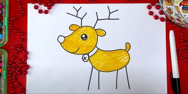 Как нарисовать оленя: закрасьте пастелью тело, голову, уши и хвост