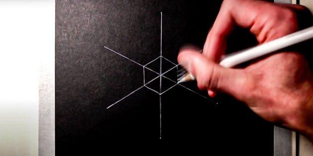 Как нарисовать снежинку: в центре нарисуйте шестиугольник
