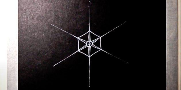 Как нарисовать снежинку: нарисуйте маленький шестиугольник