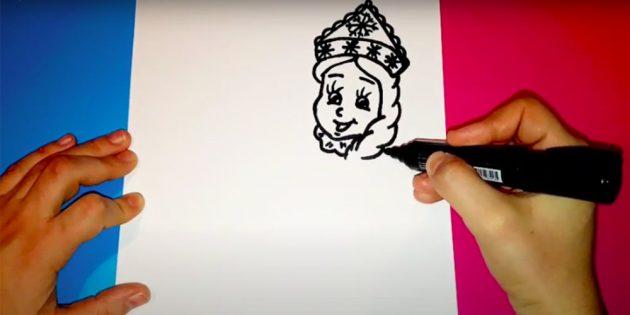 Как нарисовать Снегурочку: добавьте волосы и кокошник