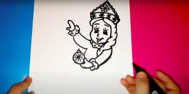 Как нарисовать Снегурочку: изобразите руки