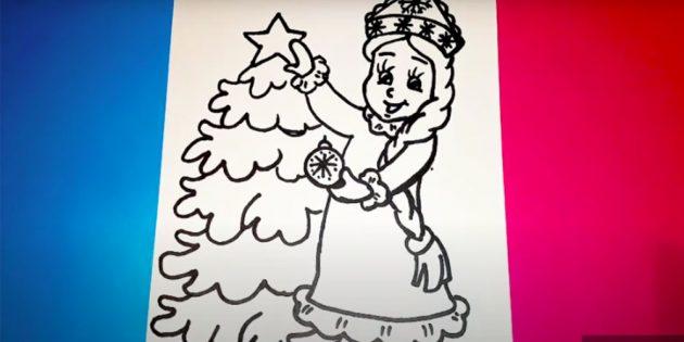 Как нарисовать Снегурочку: нарисуйте ёлку
