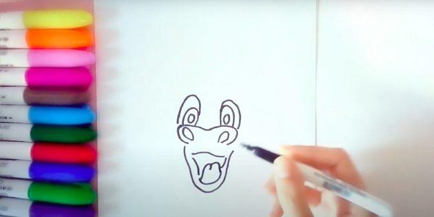Как нарисовать быка: нарисуйте глаза и морду