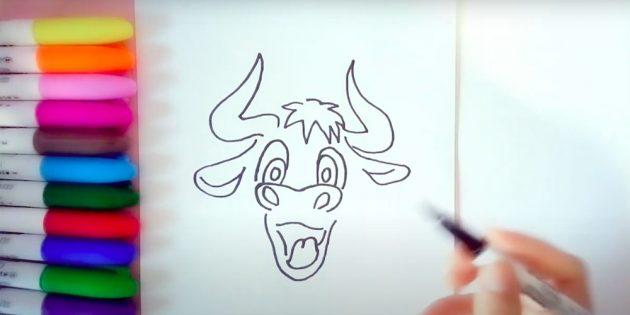 Как нарисовать быка: нарисуйте уши и рога