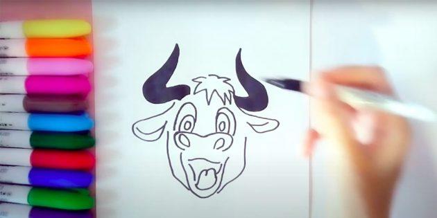 Как нарисовать быка: наметьте линии головы