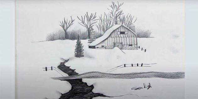 Как нарисовать чёрно-белый зимний пейзаж