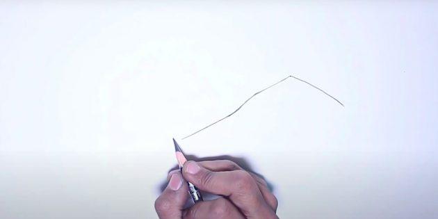 Как нарисовать зиму: обозначьте линию крыши