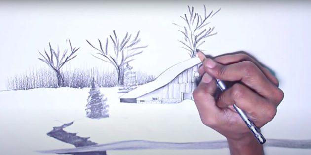 Нарисуйте кусты и деревья
