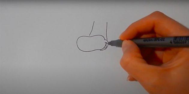 Как нарисовать корову: нарисуйте нос